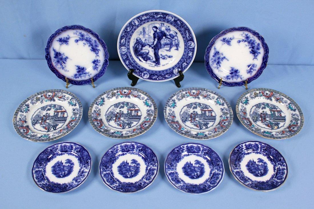 11 Flow Blue Plates & Saucers