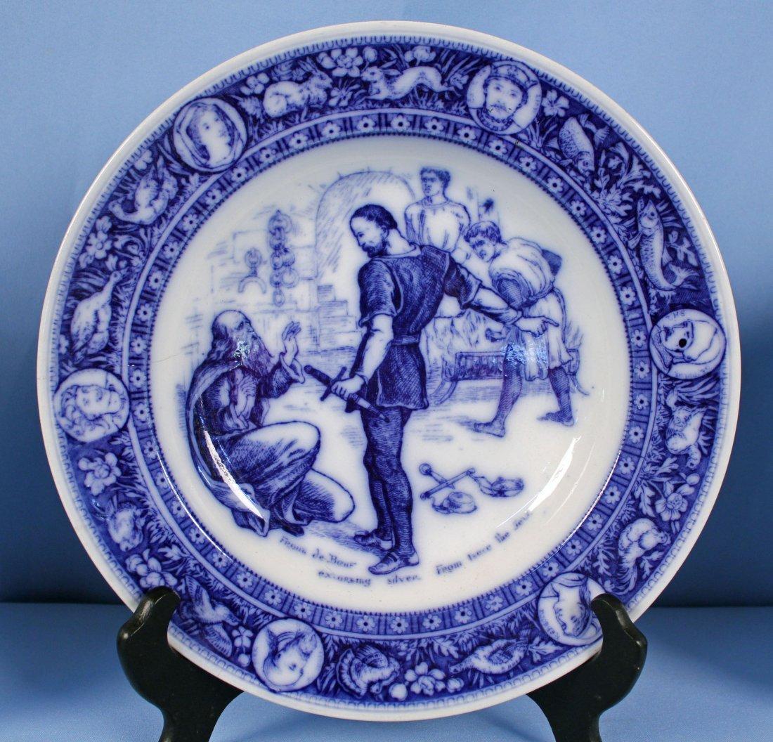 11 Flow Blue Plates & Saucers - 2
