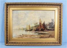 William Shayer (1787-1879) Harbor Scene O/C