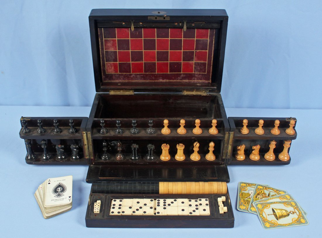 19th C. Chess, Checkers, & Dominos Game Set