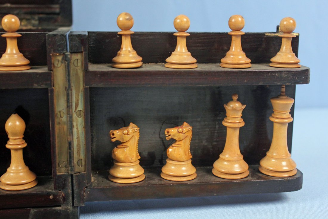 19th C. Chess, Checkers, & Dominos Game Set - 2