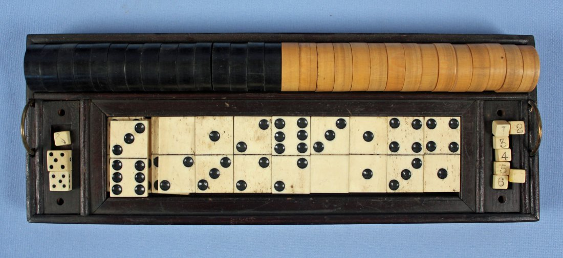 19th C. Chess, Checkers, & Dominos Game Set - 3