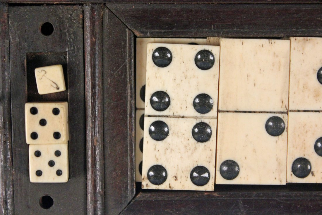 19th C. Chess, Checkers, & Dominos Game Set - 4