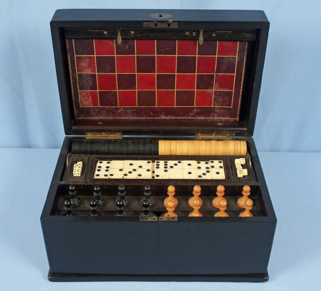 19th C. Chess, Checkers, & Dominos Game Set - 9