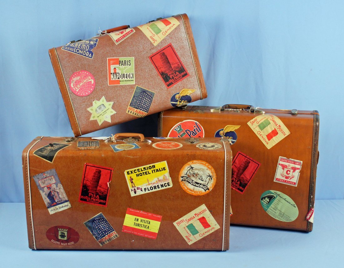 3 Pcs. Vintage 1940s Luggage w/ Travel Tags