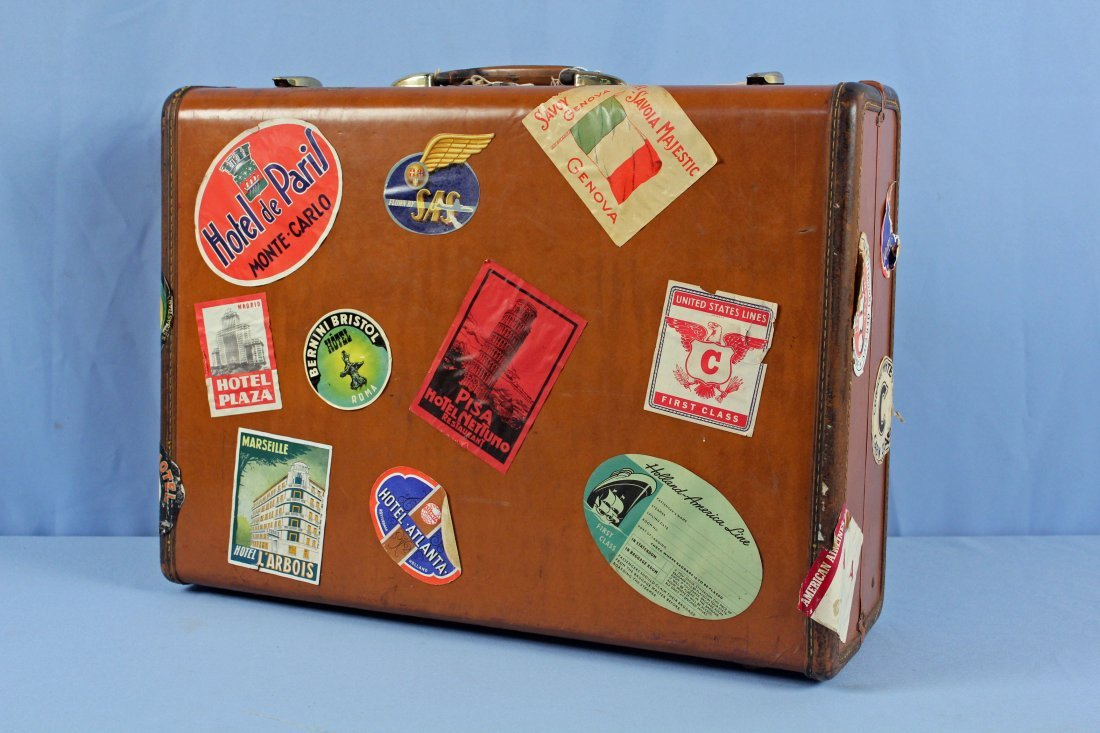 3 Pcs. Vintage 1940s Luggage w/ Travel Tags - 2