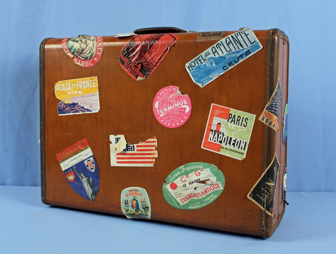 3 Pcs. Vintage 1940s Luggage w/ Travel Tags - 4