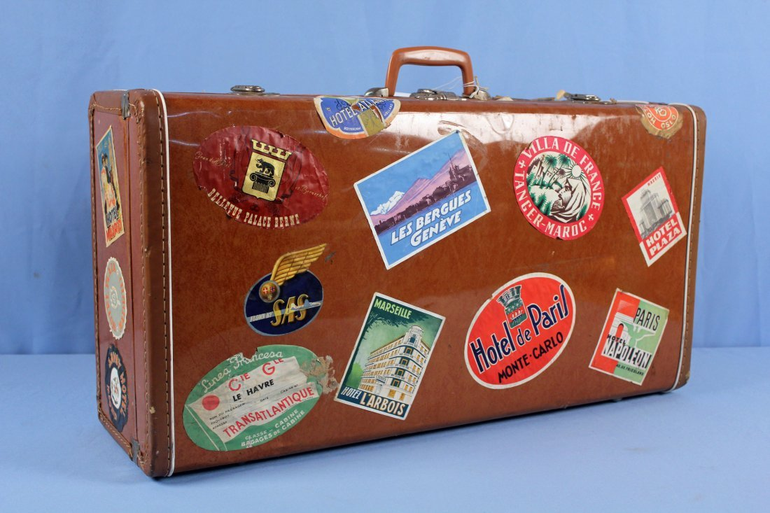 3 Pcs. Vintage 1940s Luggage w/ Travel Tags - 6