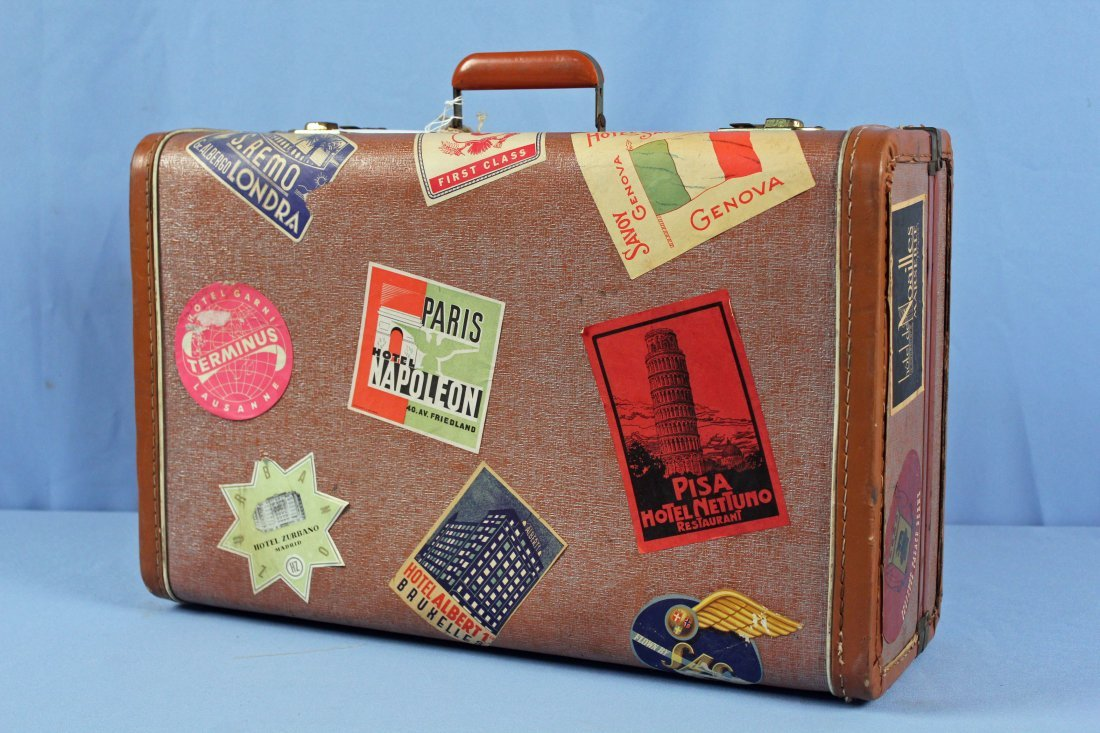 3 Pcs. Vintage 1940s Luggage w/ Travel Tags - 8