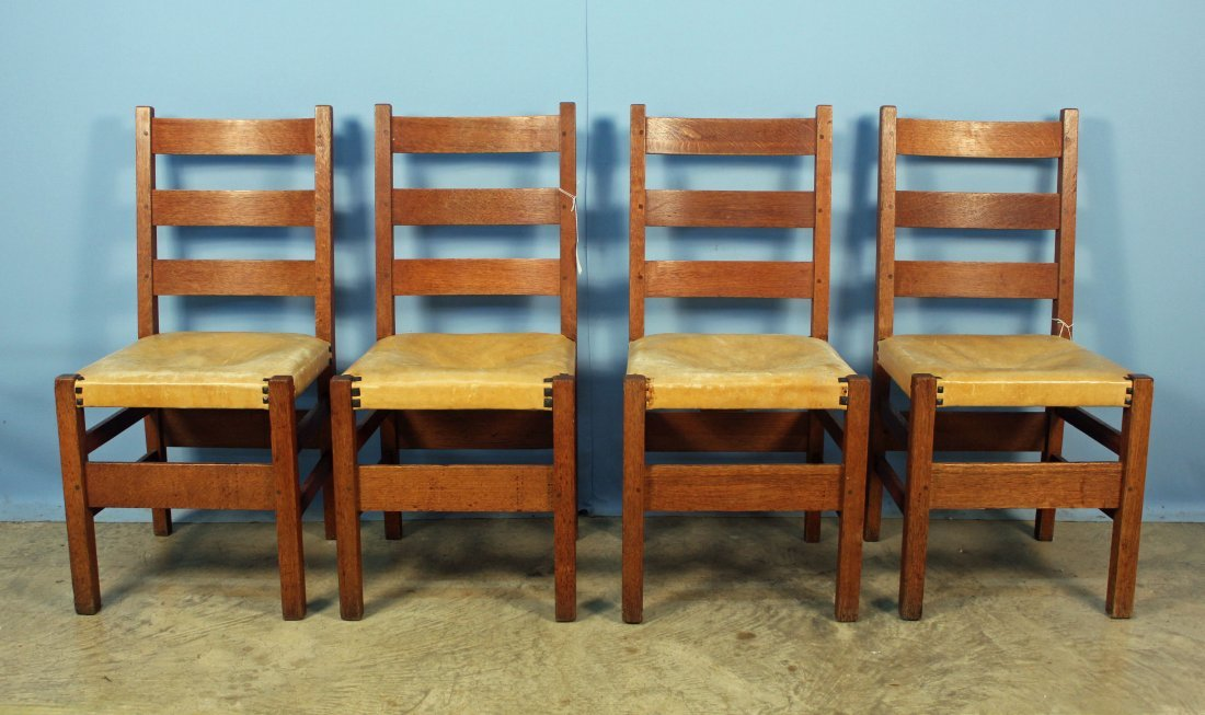 4 Gustav Stickley No. 306 1/2 Ladder Back Chairs