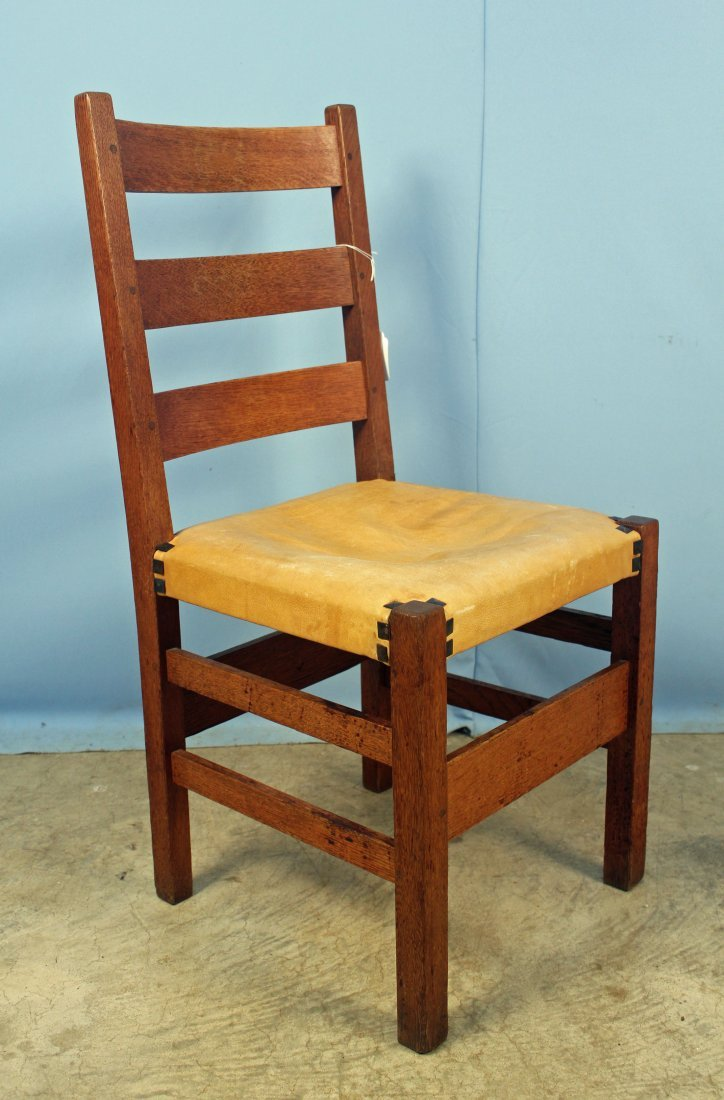 4 Gustav Stickley No. 306 1/2 Ladder Back Chairs - 2