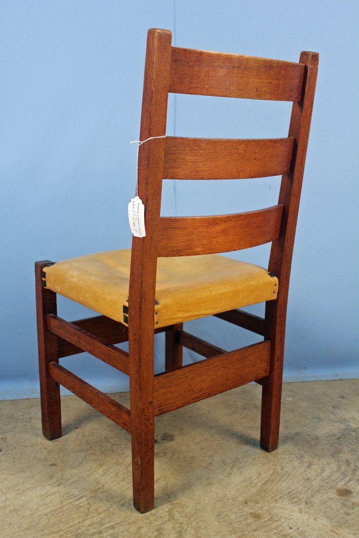 4 Gustav Stickley No. 306 1/2 Ladder Back Chairs - 5