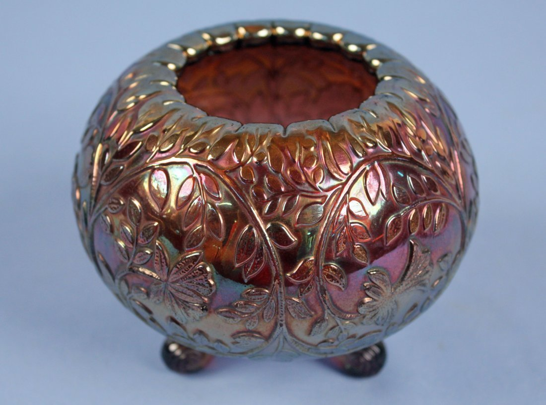Three Carnival Glass Footed Rose Bowls - 2