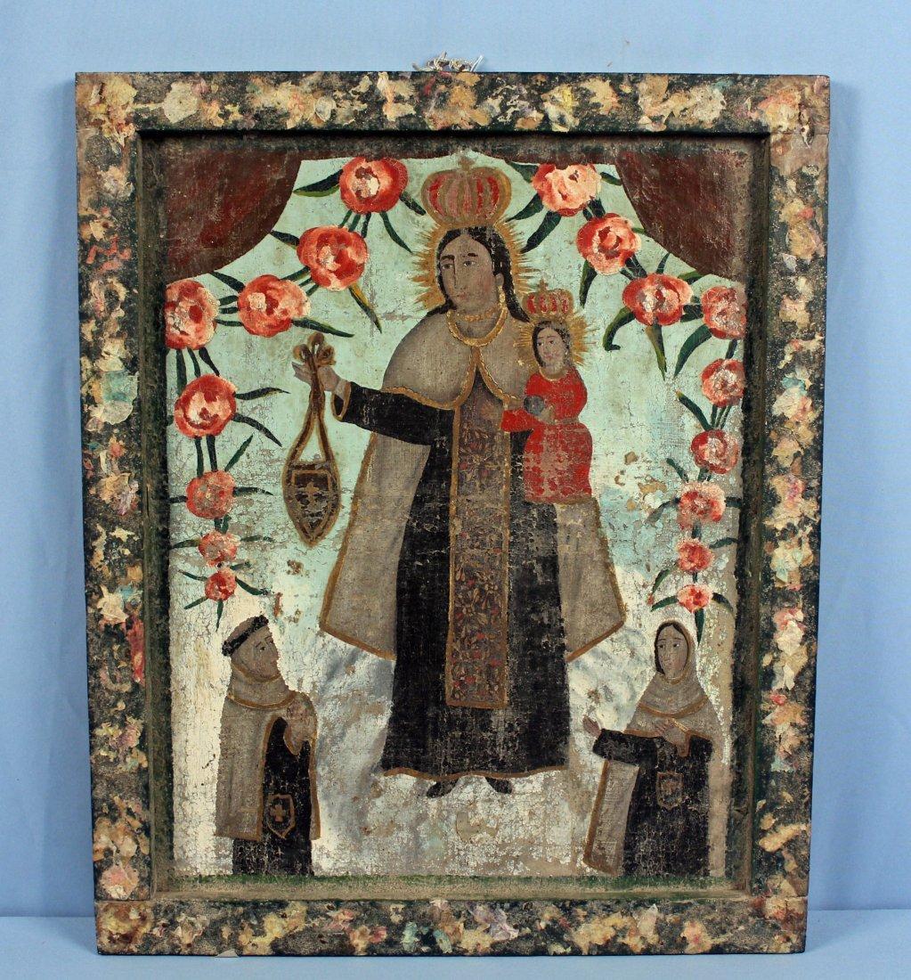 19th C. Virgin of Carmel Retablo Central Mexico