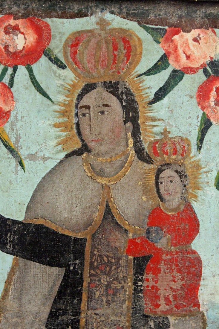 19th C. Virgin of Carmel Retablo Central Mexico - 2