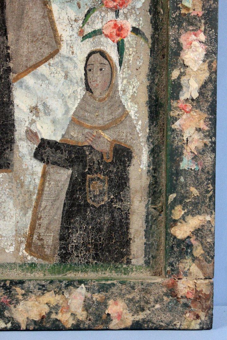 19th C. Virgin of Carmel Retablo Central Mexico - 3