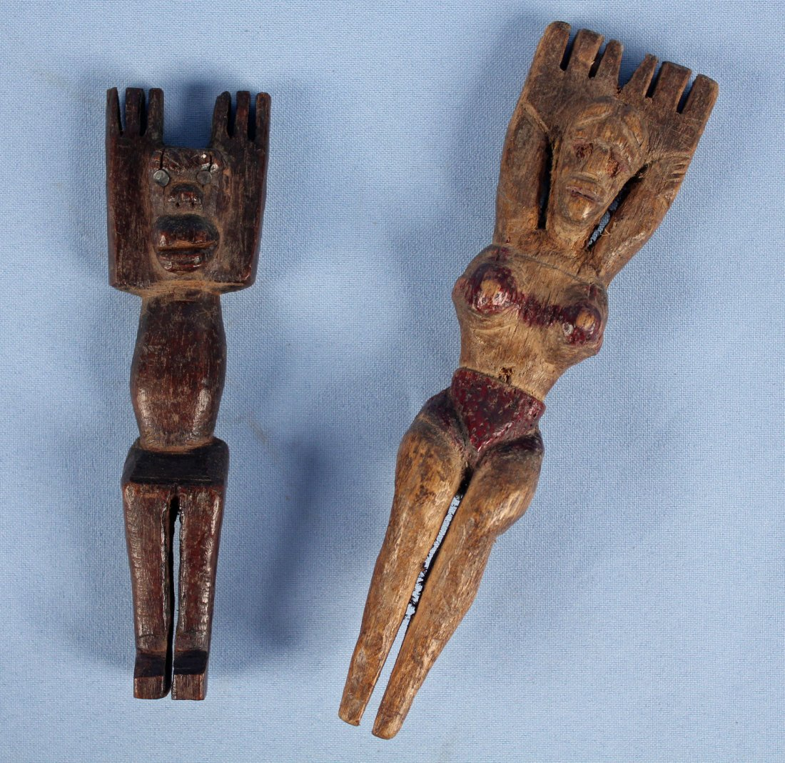 Two 20th C. Hand Carved Guatemalan Slingshots