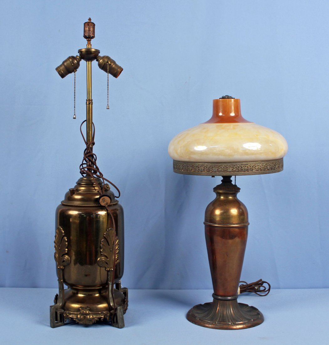 Two Brass Electric Lamps including Miller Co.