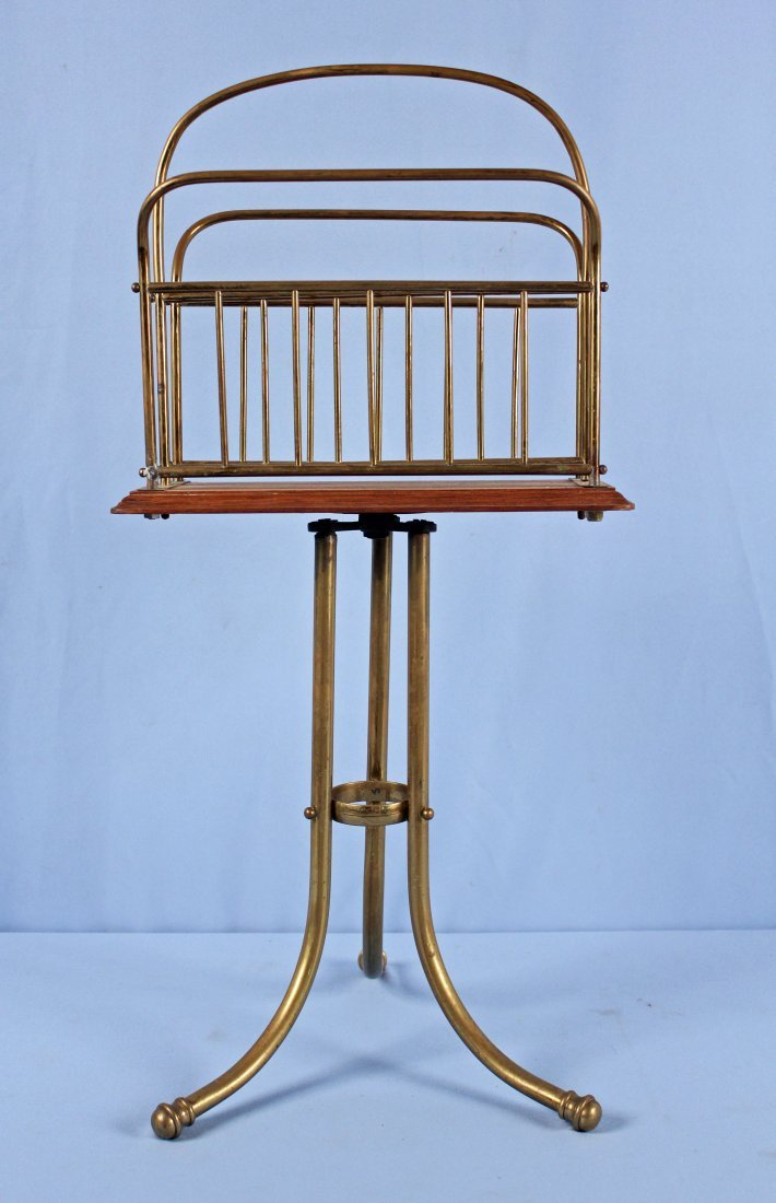 C. 1890 Revolving Brass and Oak Magazine Stand