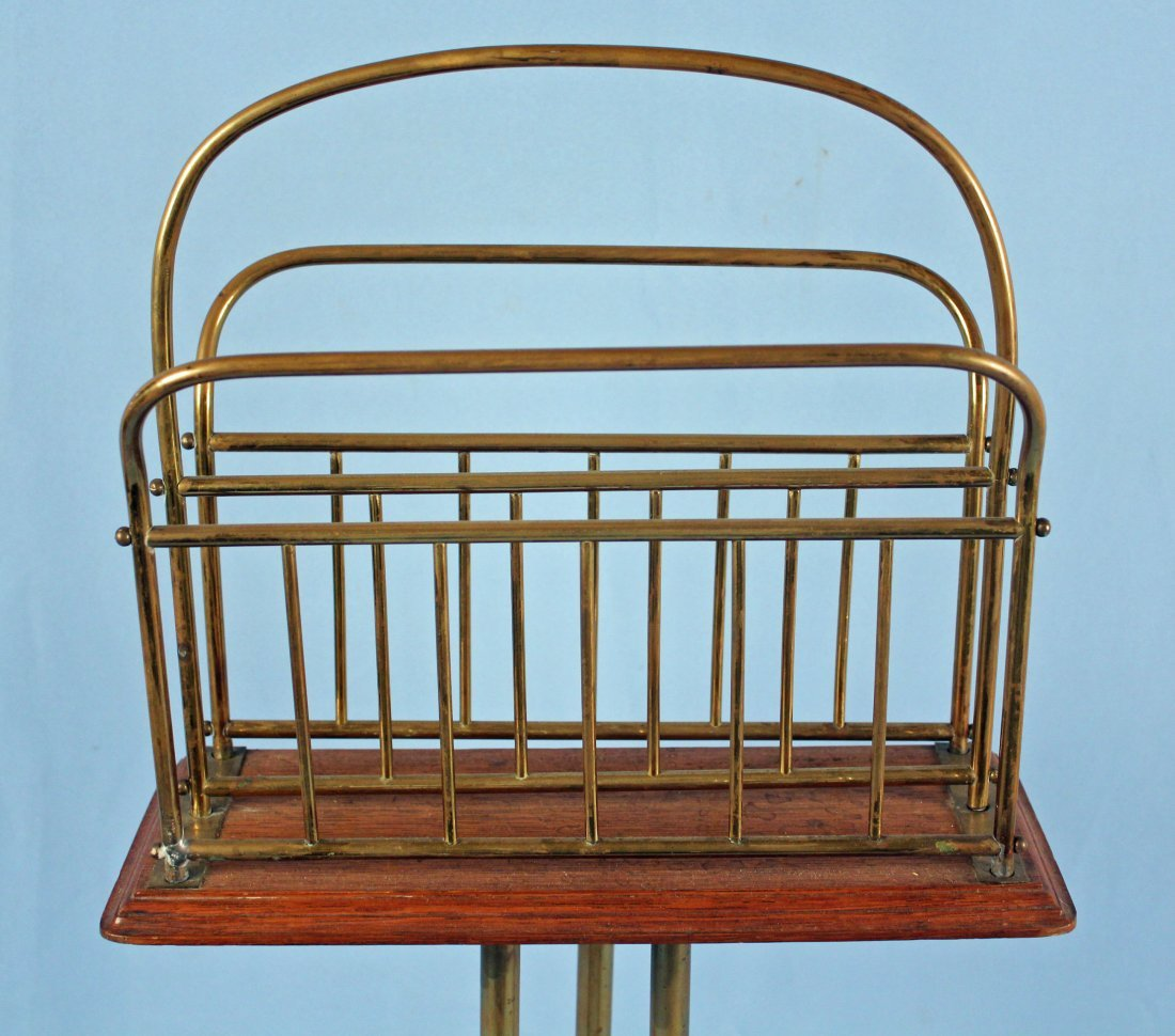 C. 1890 Revolving Brass and Oak Magazine Stand - 2
