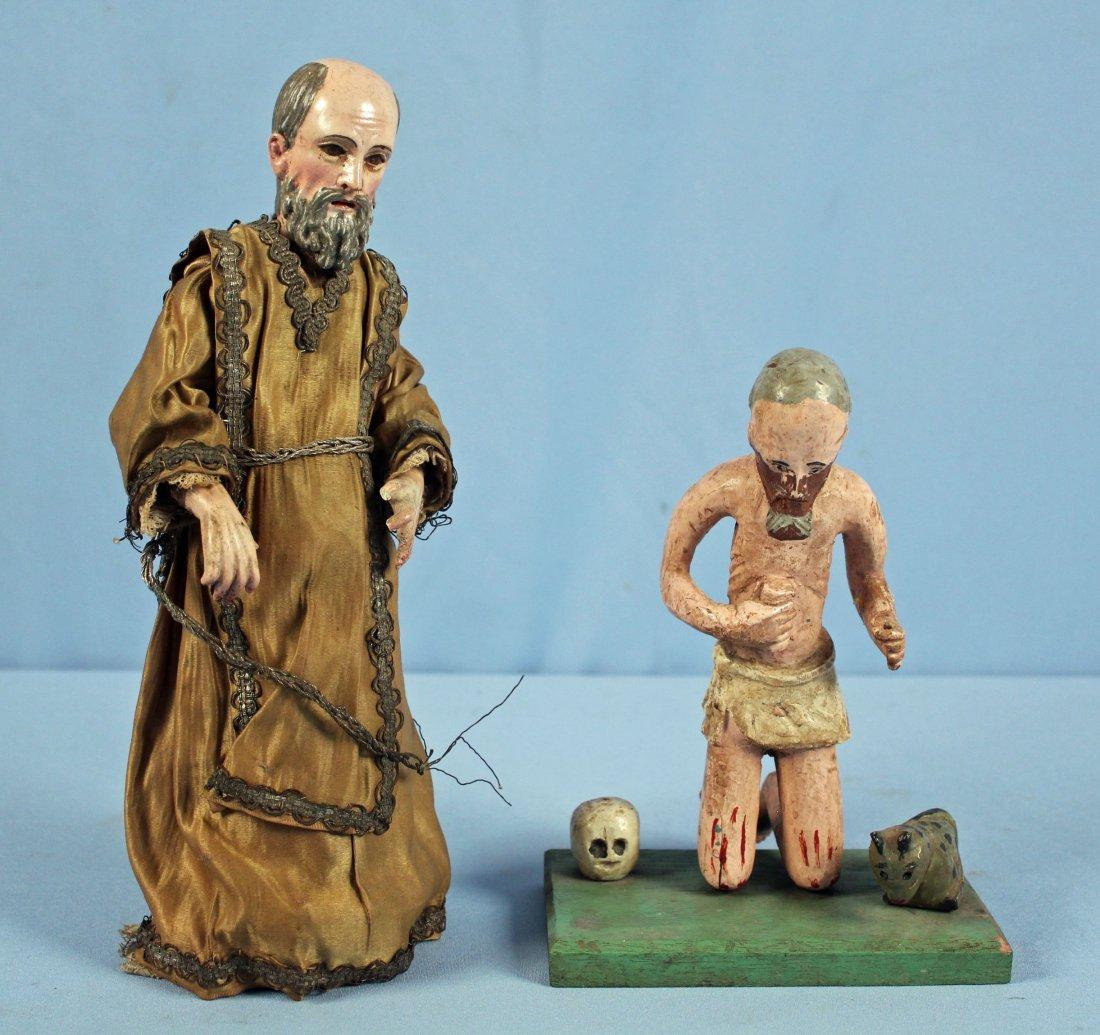 Two Carved Wood Santos Figures Saint & Jesus