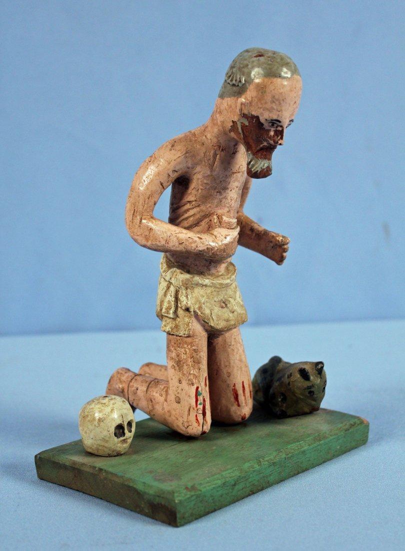 Two Carved Wood Santos Figures Saint & Jesus - 2
