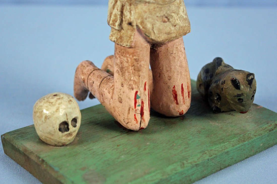 Two Carved Wood Santos Figures Saint & Jesus - 3