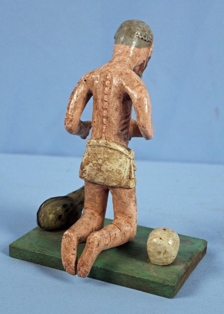 Two Carved Wood Santos Figures Saint & Jesus - 5