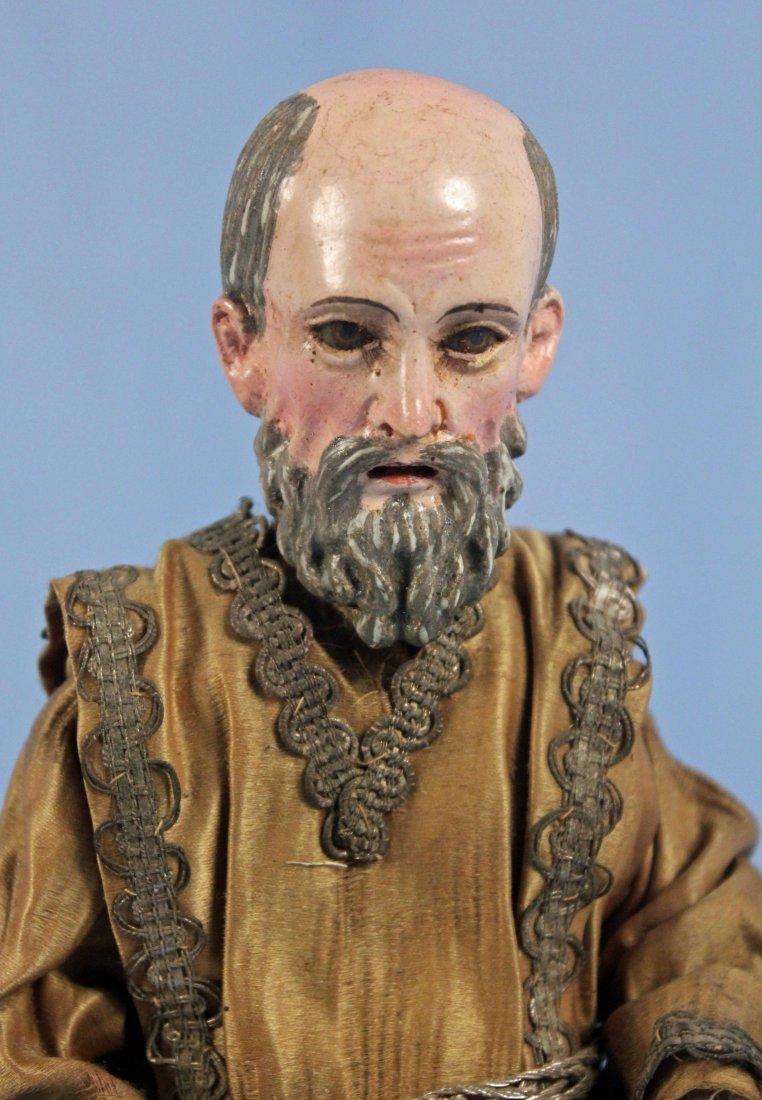 Two Carved Wood Santos Figures Saint & Jesus - 8