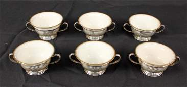 6 Whiting Sterling Bouillon Cups w Lenox Inserts