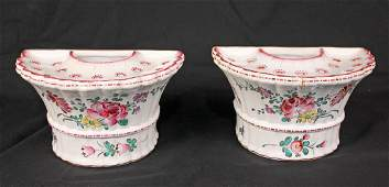 Pair French Faience Wall Pocket Flower Frog Vases