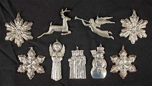 9 Gorham Sterling Silver Christmas Ornaments
