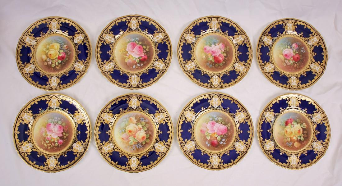 Set of 8 Royal Doulton  Cabinet Plates with Roses