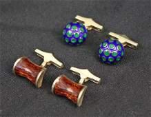 2 Pr. 14K Gold Martine Enamel Decorated Cufflinks