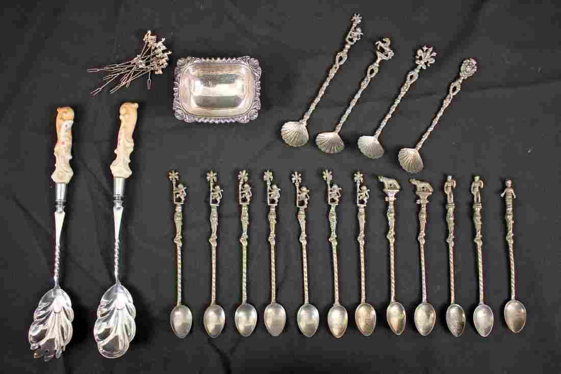 Group of Mixed Silver, Stir Spoons, Salt Cellar