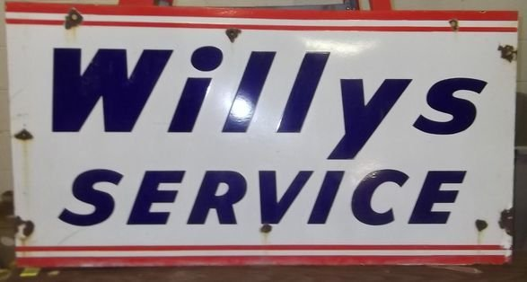 12: Willys Service porcelain sign