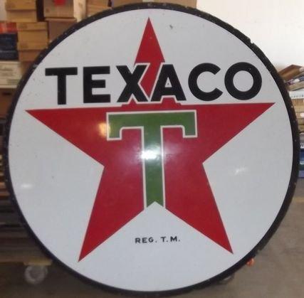 20 6 Ft Round Texaco Double Sided Porcelain Pole Sign