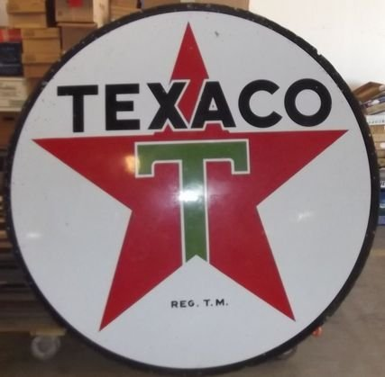 20: 6 Ft round Texaco double sided porcelain pole sign