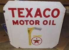 22: Double sided Texaco Motor Oil porcelain sign