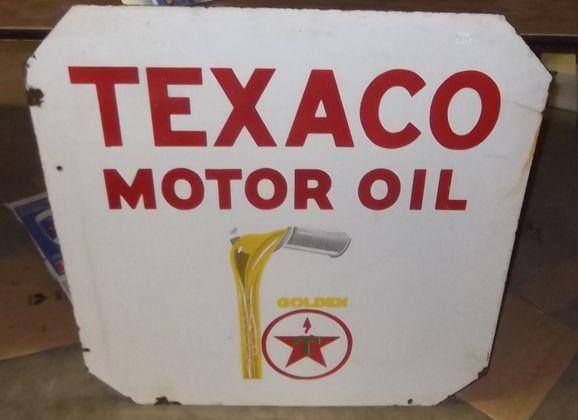 Double sided Texaco Motor Oil porcelain sign