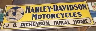 1916 Harley Davidson cardboard dealer sign