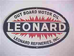 Procelain Leonard outboard motor oil sign