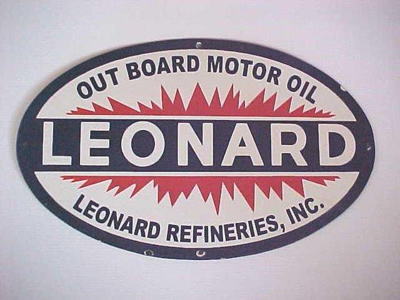 6: Procelain Leonard outboard motor oil sign