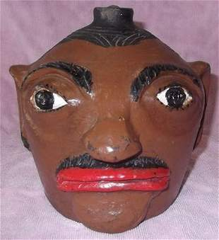 Arie Meaders glazed & painted face jug