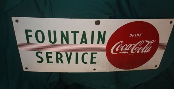 32: 1950's Coca Cola Fountain Service percelain sign