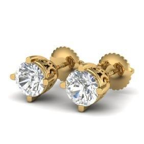 1.5 CTW VS/SI DIAMOND BRIDAL SOLITAIRE ART DECO STUD