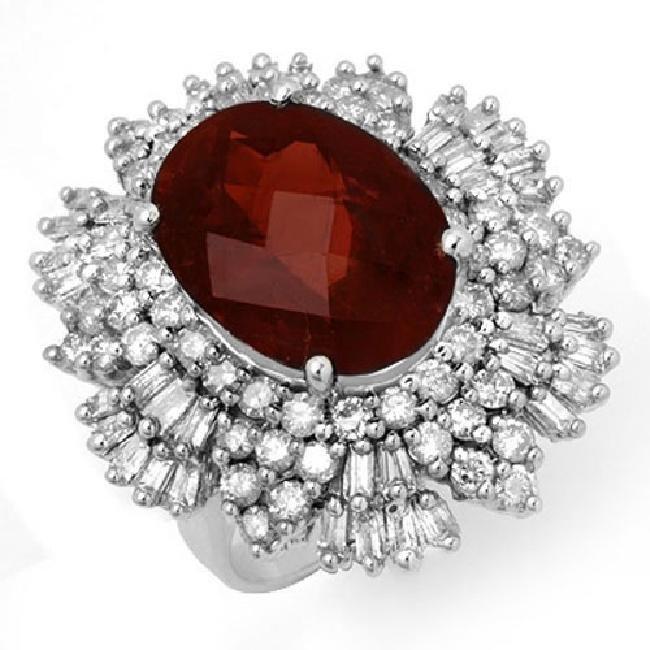 13.25 ctw Pink Tourmaline & Diamond Ring 18K White Gold