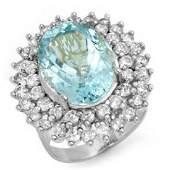 1050 ctw Aquamarine  Diamond Ring 18K White Gold