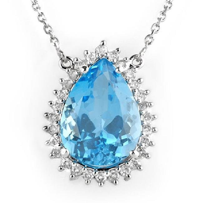 13.75 ctw Blue Topaz & Diamond Necklace 14K White  Gold