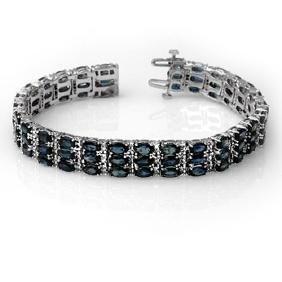 30.26 ctw Blue Sapphire & Diamond Bracelet 14K White